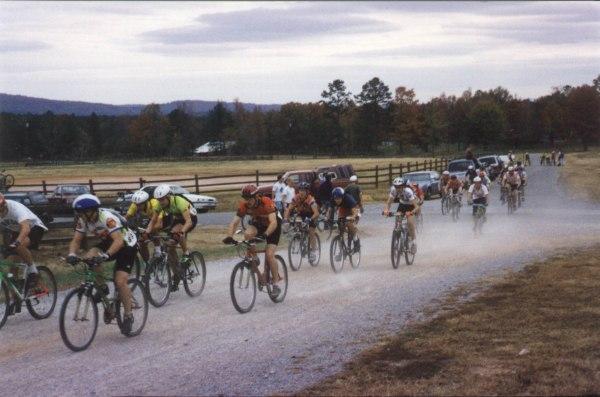 1993 - Maddog Mountain Bike Race - NORBA beginners field strings out heading towards the singletrack