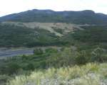 I originally was going to ride alongside the railroad before I found Old Raton Pass ... also visible is I-25