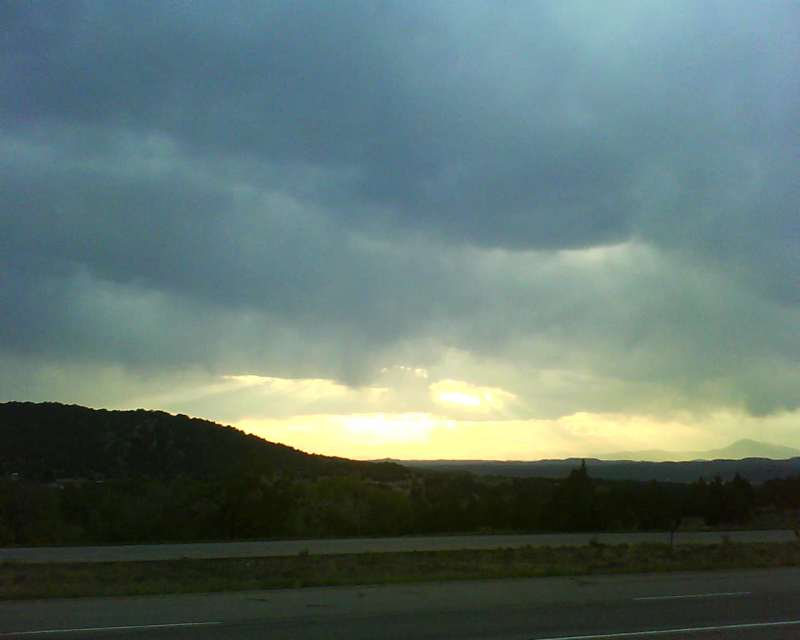 Beautiful sunset sky over the high mountains of southern Colorado near Trinidad.