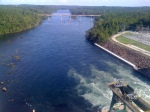Looking south down the Savannah River from the dam outlet
