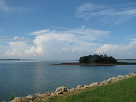 Island with thunderstorm brewing in the direction of Clemson