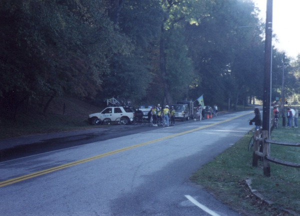 1996 - Cleveland Park start finish area - somebody in the pit