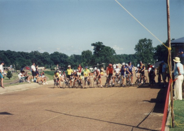 1994 - Natchez Cycling Classic - the juniors field lined up for the start of the mall criterium