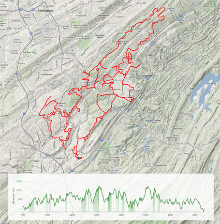 Ride map and elevation profile - look at all the turns (click to enlarge)