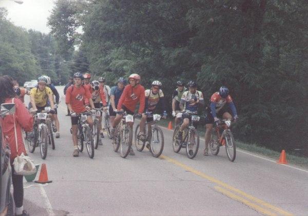 1994 - Rocket City Mountain Bike Race - Hunstville, AL - the sport category lines up for the start