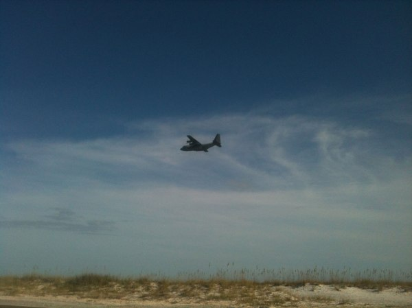Pensacola is the cradle of naval aviation and home of the Blue Angels flight squadron. I had my camera out to take pictures of the beach as I was riding when this large plane came flying right next to me.
