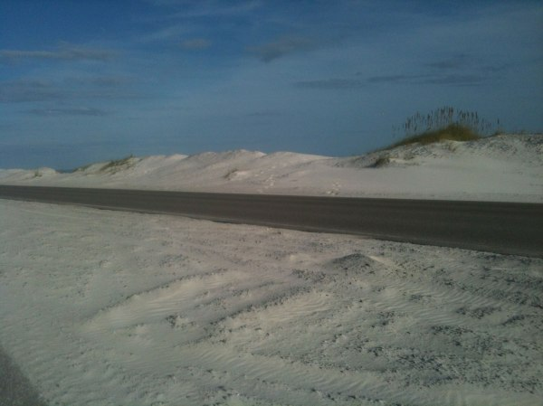 The road and the dunes