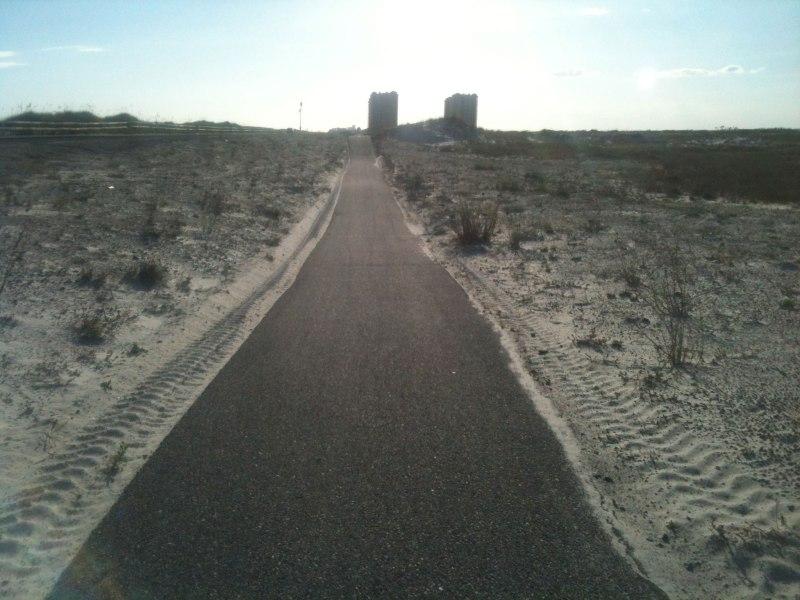 Rolling across the dunes on the bike path