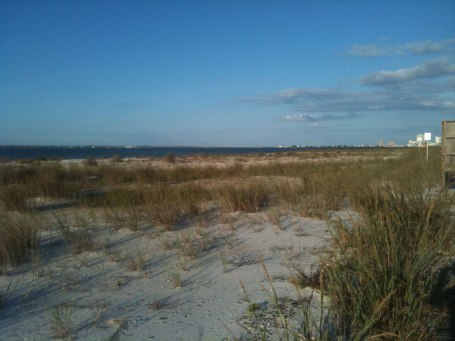 Looking towards the bay bridge from the mainland to the barrier island that Pensacola Beach is located on