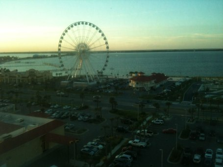 View of the ferris wheel and the sound from our hotel room
