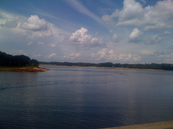 Looking north along Lake Hartwell towards Clemson and the mountains.