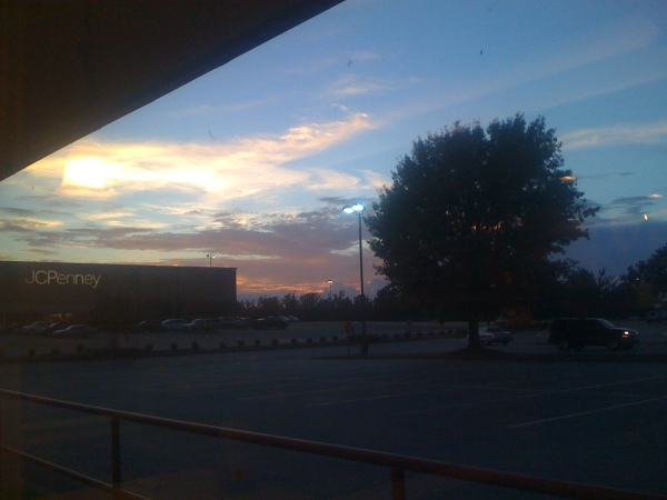 Beautiful sunset sky looking out the IHOP window