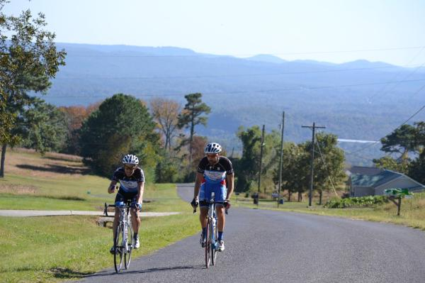 Carson took this great photo of Boris and me approaching the Skyball KOM for the second time.