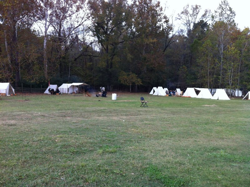Civil war reenactors camping on the farm. This is the union camp.