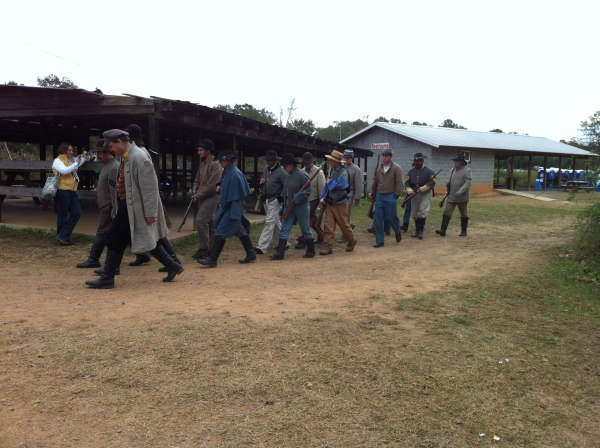 The confederate army marching somewhere (maybe to lunch?)