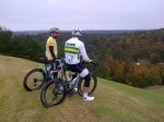 At the edge of the helicopter hill descent - me and Simon - you can see the ridges all the way out to Hugh Daniel, which is blocking the view of the Double Oak ridge line (pic by John)