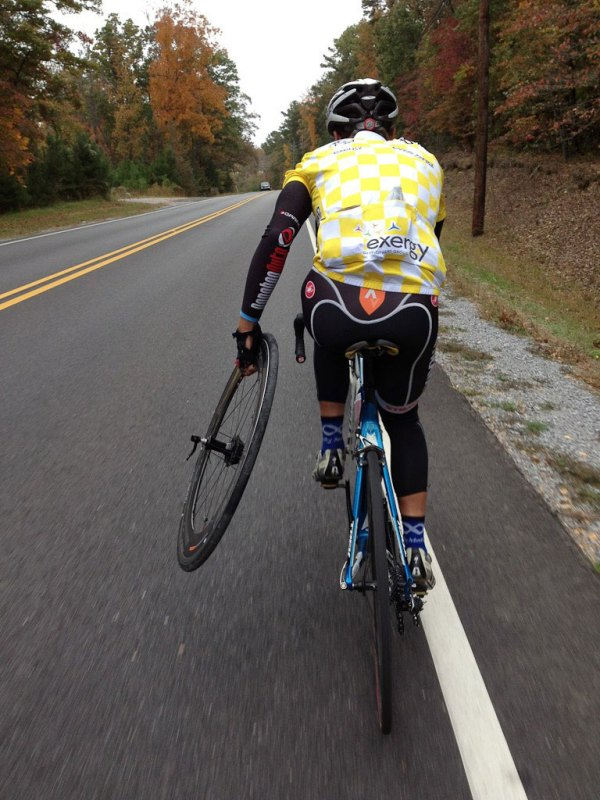 Me carrying the broken wheel back to Mt Laurel (pic by Russell)