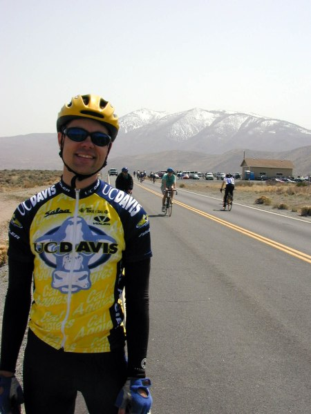 2001 - Reno, NV - shortly after winning the Cat B collegiate road race. I was fascinated by the snow on the mountains ... my first time biking anywhere remotely near snow.