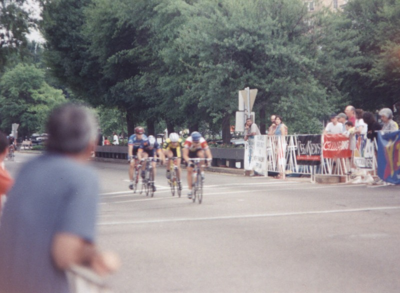 "1997 - Augusta downtown criterium Pro/1/2 - in break early (shown here). Post-race analysis: ""So close, so close, so close.  Attacked hard with 3 to go and caught the National Junior Champ (Eric Walters) with 2 to go, but we got caught with 1/2 lap to go.  I still finished 15th in the sprint."""
