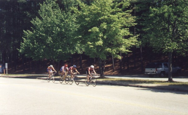 """1997 - Clemson Collegiate A criterium - how did this break not stick with UF, GSU, Clemson, and UGA all represented? Answer: it looks like it was my fault ... post-race analysis: """"Did not place in any primes.  Was in a four up break with 5 to go, but I could not pull through and we got caught.  Felt pretty good, but heart rate not quite as high today."""""""