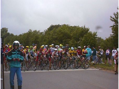 "1998 - McMinnville, TN high school criterium - lined up at the front before it started to rain ... post-race analysis: ""Lots of rain.  Didn't corner very well and got stuck at back of pack.  Had to chase out of every corner.  Got dropped and pulled with 5 laps to go"""
