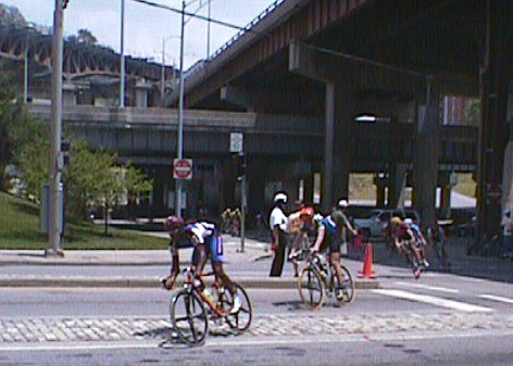 1998 - Espoirs (U23) national road race - Cincinatti, OH. This course would be perfect for me now, but back then it was basically a giant 10 mile crit course spanning two states with a couple of big climbs from the river. I only lasted a couple laps before getting dropped and then rode a couple more laps before getting pulled. There's a very good chance I could win a national race on a course like this today!