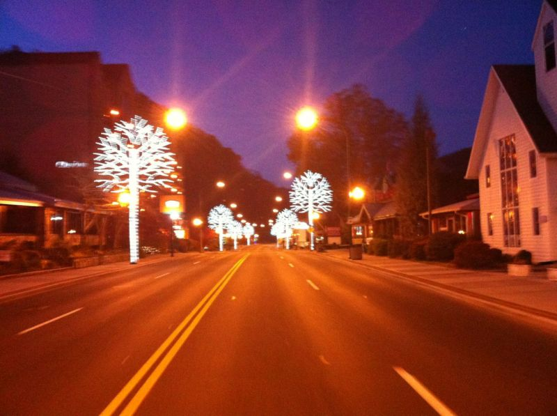 Christmas lights leaving Gatlinburg before sunrise