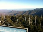 View looking back towards Gatlinburg from the lookout tower atop Clingman's Dome - partial view of Mt Leconte which rises up higher just out of the frame of this pic