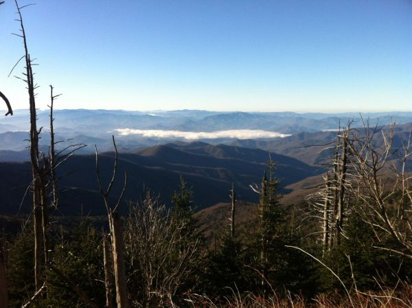 View from Clingman's Dome looking south towards Fontana Lake with a cloud bank above the lake