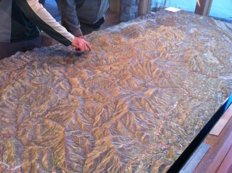 Huge raised relief map at the Cherokee information center for the Great Smoky Mountains National Park