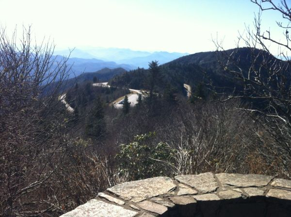 Looking down at the Waterrock Knob horseshoe on the Blue Ridge Parkway
