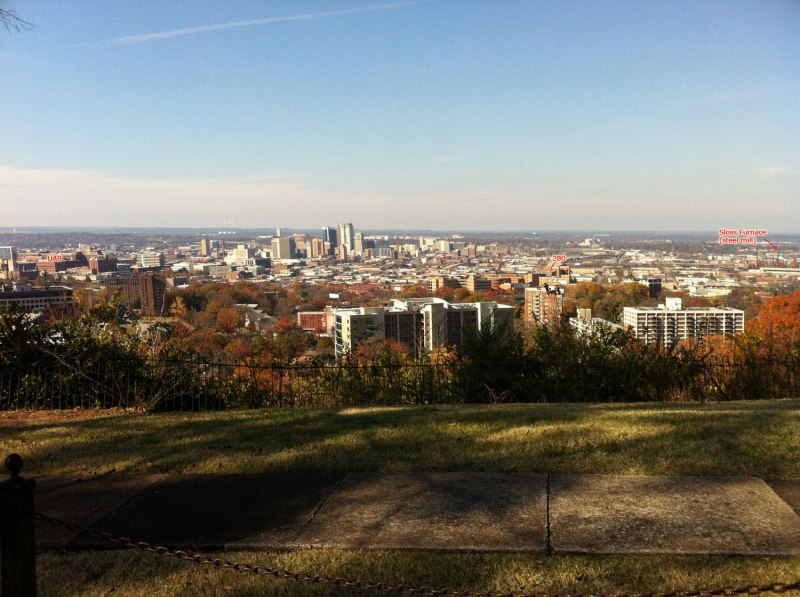 Annotated view of downtown Birmingham showing UAB, 280, and Sloss Furnace - this is from the road where the secret climb comes into ... it's on strava so I guess it's not too secret anymore!