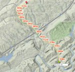 Power map for the Grants Mill - Karl Daly climb annotated at 30second power averages