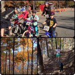 A collage Kristine made from the kids race and her run on the trail with Boots