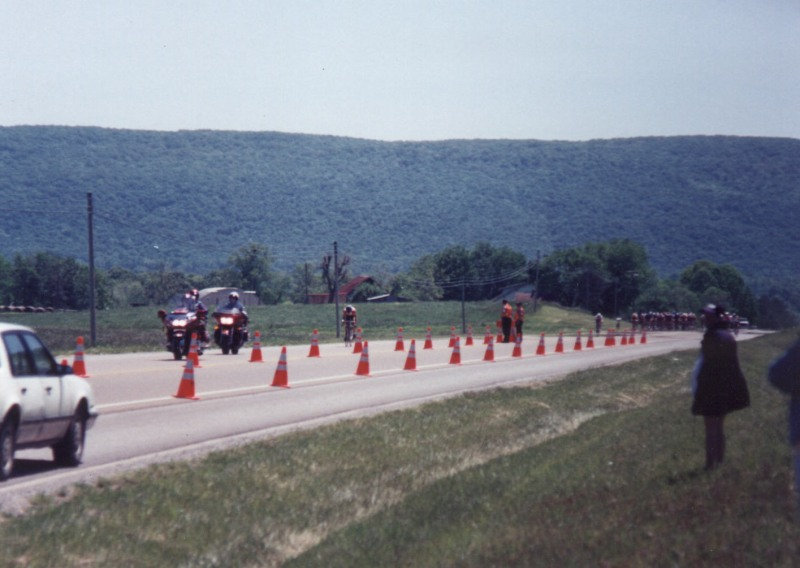 1997 - McMinnville road race finish - this was the Cat 3 finish. I had been away solo for 15 miles. Note the field approaching very quickly. I barely held on to win.