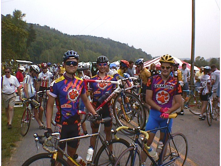 1998 - Collegiate National Road Race near Ceasar's Head, SC - I flatted out, but my teammate Bert Hull (middle) was in the day-long break before it got reeled back in towards the end of the race