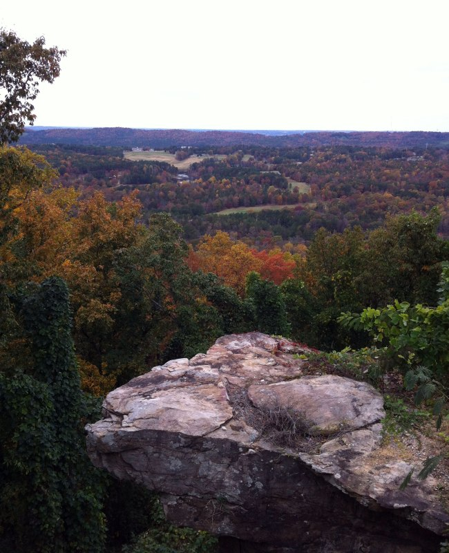 Large rock, oxmoor valley, red mountain ridge line