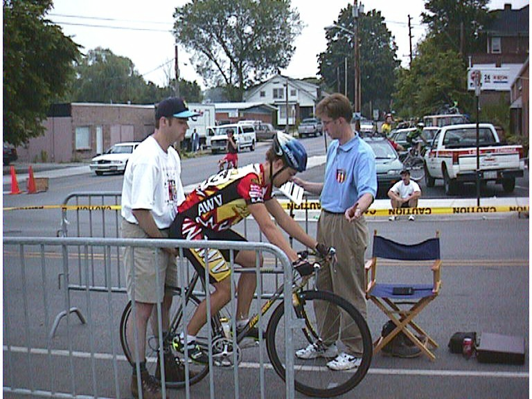 1998 - Roanoke stage race - me right before the start of the Pro/1/2 hillclimb time trial up the old road to the zoo. Oh if I could only race that again... I probably finished near the back of the pack.