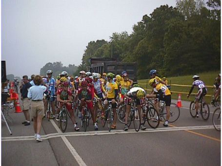 1998 - McMinnville, TN pro/1/2 road race - lining up at the start. The red team would win ... literally, the whole team.