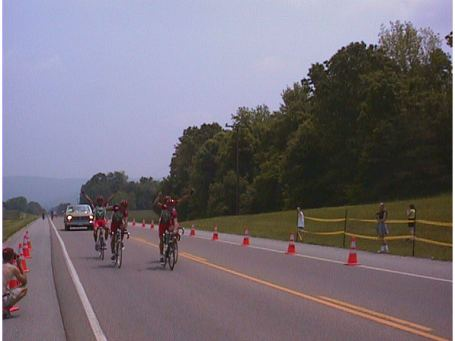 1998 - McMinnville, TN road race - I won this race the year before as a Cat 3, this pro team swept the top four positions the next year in the Pro/1/2 field. I finished with the pack.