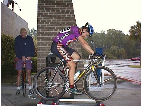 1998 - Jacksonville, FL - me warming up before a cold rainy collegiate criterium