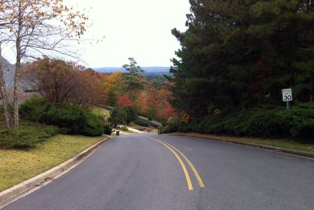 View looking down South Cove at the ridges ... gradient is above 20% shortly past the speed limit sign