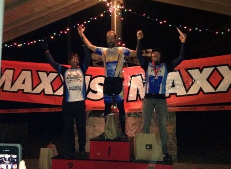 The men's 9 hour solo expert podium - Left to Right: Jeff Clayton, Brian Toone, Boris Simmonds