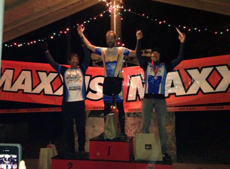 The men's 9 hour solo expert podium - Left to Right: Jeff Clayton, Brian Toone, Boris Simmonds