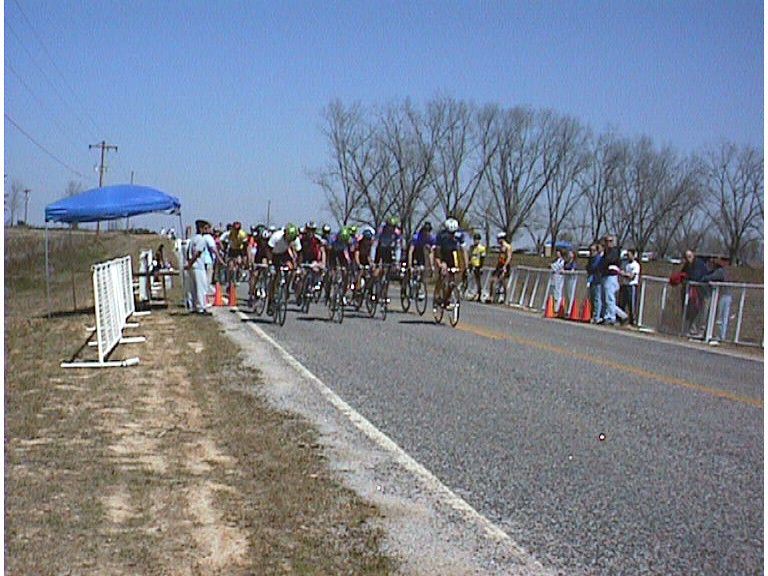 1998 - Georgia Southern collegiate A road race start - I finished well in this surprisingly hilly course. I think Travis won it on a solo break.
