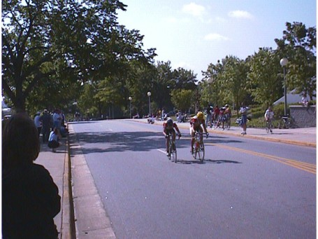 "1998 - Athens Twilight - first of three races of the day, this was the amateur 2/3 race qualifier. Travis Sherman and I started a two-man break that eventually became a ten man break which stayed away ... good enough to qualify for the finals race setting up an attempt at ""epic triple"""