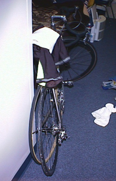 """1998 - UTK Knoxville rolled a tubular on easy ride around Knoxville, fell and ripped my cycling shorts ... had to race in """"holey"""" shorts the whole weekend. The road race picture shows my normal rear training wheel paired with my American Classic racing front wheel"""