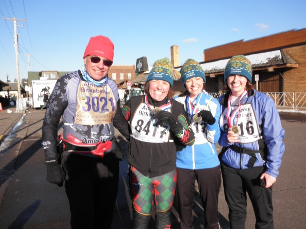Dale, Kristine, Anna, and Kat finishing the 2012 Birkie 50KM ski race together