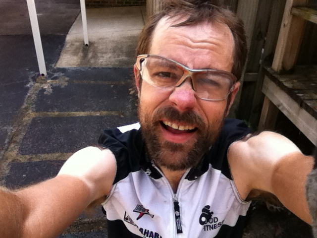 Sleeveless in December! (note - this was only for the KOM attempt, the rest of the ride had a normal jersey - wouldn't want to mess up the tan lines ;-))