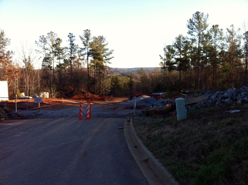 The unfinished portion of Carrington Pkwy